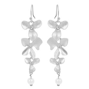 COMING SOON!! Silver Orchid Pearl Drop Earrings